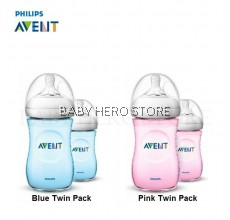 Avent Natural Bottle 9oz / 260ml (Blue/Pink) Twin Pack